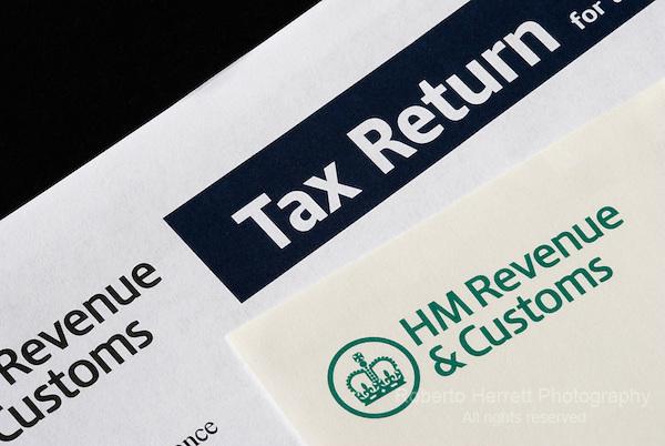 Close up of HM Revenue and Customs UK tax return