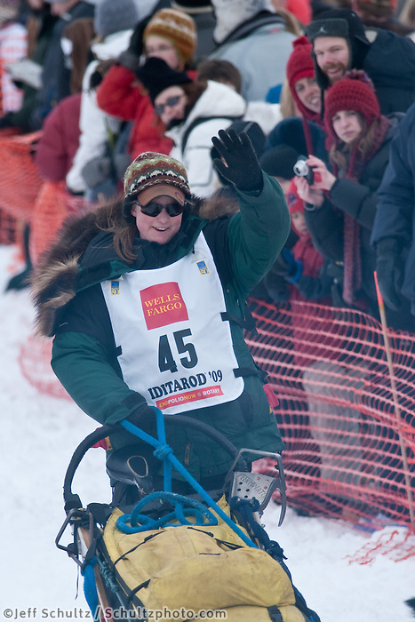 Musher # 45 Laura Daugereau at the Restart of the 2009 Iditarod in Willow Alaska