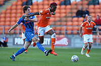Blackpool's Armand Gnanduillet shields the ball from Rochdale's Jordan Williams<br /> <br /> Photographer Stephen White/CameraSport<br /> <br /> The EFL Sky Bet League One - Blackpool v Rochdale - Saturday 6th October 2018 - Bloomfield Road - Blackpool<br /> <br /> World Copyright &copy; 2018 CameraSport. All rights reserved. 43 Linden Ave. Countesthorpe. Leicester. England. LE8 5PG - Tel: +44 (0) 116 277 4147 - admin@camerasport.com - www.camerasport.com