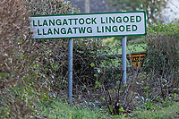 The Llangattock Lingoed village sign near Abergavenny in Monmouthshire, Wales, UK. Wednesday 09 January 2019