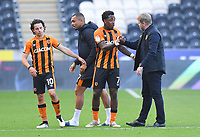 Goal scorer Hull City's Mallik Wilks is congratulated by his manager Manager Grant McCann at the final whistle<br /> <br /> Photographer Dave Howarth/CameraSport<br /> <br /> The EFL Sky Bet League One - Hull City v Crewe Alexandra - Saturday 19th September 2020 - KCOM Stadium - Kingston upon Hull<br /> <br /> World Copyright © 2020 CameraSport. All rights reserved. 43 Linden Ave. Countesthorpe. Leicester. England. LE8 5PG - Tel: +44 (0) 116 277 4147 - admin@camerasport.com - www.camerasport.com