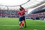 Atletico de Madrid Rodrigo Hernandez, Antoine Griezmann and Francisco Javier Montero celebrating a goal during La Liga match between Atletico de Madrid and Deportivo Alaves at Wanda Metropolitano in Madrid, Spain. December 08, 2018. (ALTERPHOTOS/Borja B.Hojas)