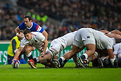10th February 2019, Twickenham Stadium, London, England; Guinness Six Nations Rugby, England versus France; Ben Youngs of England is tackled by Morgan Parra of France