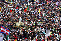 Half a million pilgrims are attending a giant open-air mass with Pope Benedict XVI in Fatima Sanctuary, a greater number than joined his predecessor John Paul II here in 2000