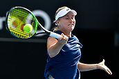 9th January 2018, Sydney Olympic Park Tennis Centre, Sydney, Australia; Sydney International Tennis, round 1; Daria Gavrilova (AUS) closes her eyes as she hits a forehand in her match against Olivia Rogowska (AUS)
