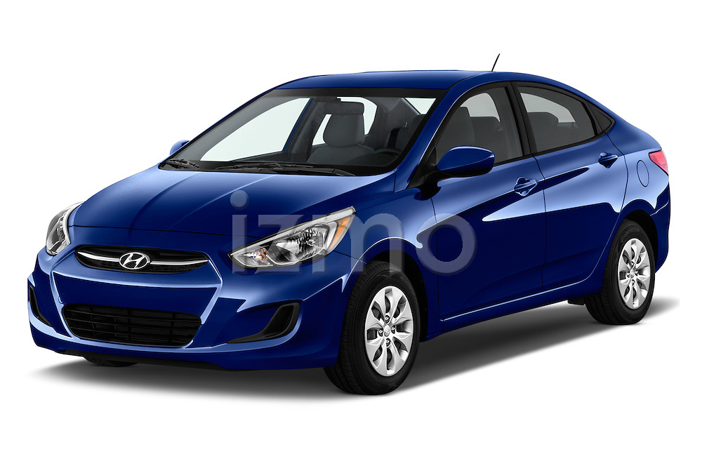 2016 Hyundai Accent SE 4-Door 6-Speed Automatic 4 Door Sedan Angular Front stock photos of front three quarter view
