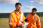 16 November 2007: Pat Onstad (CAN) (l) with Dwayne De Rosario (CAN) (r). The Houston Dynamo practiced at the RFK Stadium Auxiliary Field in Washington, DC two days before playing in MLS Cup 2007, Major League Soccer's championship game.