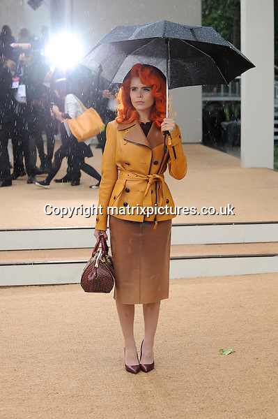 NON EXCLUSIVE PICTURE: PAUL TREADWAY / MATRIXPICTURES.CO.UK<br /> PLEASE CREDIT ALL USES<br /> <br /> WORLD RIGHTS<br /> <br /> English pop singer Paloma Faith attending the Burberry Prorsum catwalk show during London Fashion Week S/S 2014, at London's Kensington Gardens.<br /> <br /> SEPTEMBER 16th 2013<br /> <br /> REF: PTY 136149