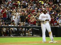 Jul. 6, 2012; Phoenix, AZ, USA: Arizona Diamondbacks fans cheer after outfielder Justin Upton hit a two run triple in the sixth inning against the Los Angeles Dodgers at Chase Field. Mandatory Credit: Mark J. Rebilas-