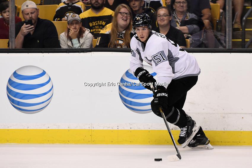 September 20, 2015 - Boston, Massachusetts, U.S. - Boston Bruins center Ryan Spooner (51) skates during the Boston Bruins training camp held at TD Garden in Boston Massachusetts. Eric Canha/CSM