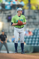 Zach Plesac (30) of the Lynchburg Hillcats looks to his catcher for the sign against the Winston-Salem Dash at BB&T Ballpark on May 1, 2018 in Winston-Salem, North Carolina. The Dash defeated the Hillcats 9-0. (Brian Westerholt/Four Seam Images)