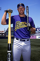Louisville River Bats outfielder Adam Dunn poses for a photo prior to a game versus the Pawtucket Red Sox at McCoy Stadium in Pawtucket, Rhode Island during the 2001 season.  (Ken Babbitt/Four Seam Images vs AP Images)