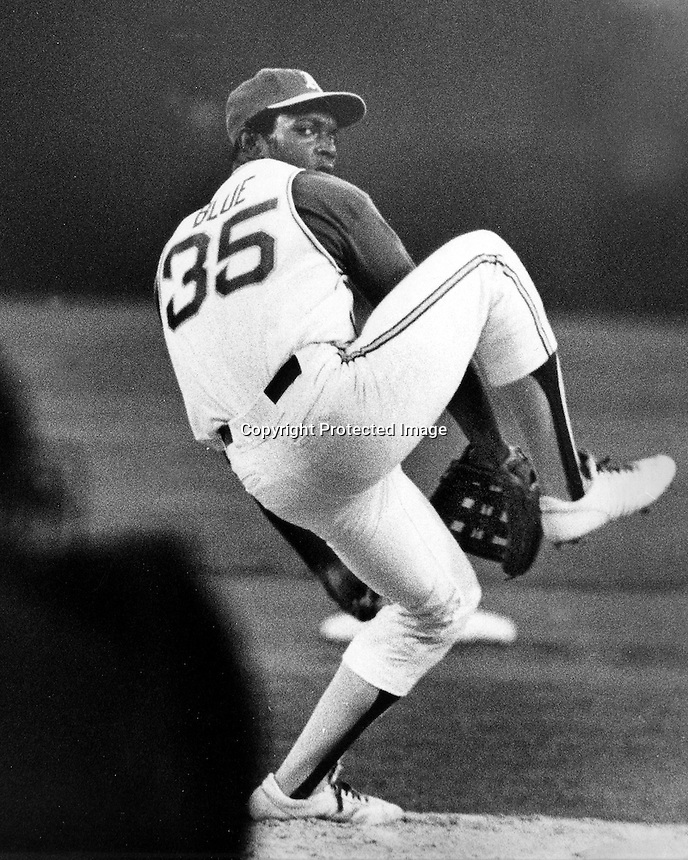 Oakland Athletics Vida Blue winds up for delivery.<br />