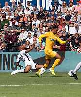 Preston North End's Andre Green (right) is tackled by Swansea City's Andre Ayew (left) <br /> <br /> Photographer David Horton/CameraSport<br /> <br /> The EFL Sky Bet Championship - Swansea City v Preston North End - Saturday 17th August 2019 - Liberty Stadium - Swansea<br /> <br /> World Copyright © 2019 CameraSport. All rights reserved. 43 Linden Ave. Countesthorpe. Leicester. England. LE8 5PG - Tel: +44 (0) 116 277 4147 - admin@camerasport.com - www.camerasport.com
