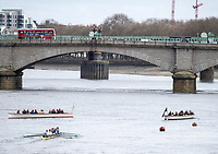 Putney, London,  Tideway Week, Championship Course. River Thames, OUBC VS CUBC, Veterans Boat Race. <br /> <br />  Saturday  01/04/2017<br /> <br /> [Mandatory Credit; Credit: Peter SPURRIER/Intersport Images.com ]