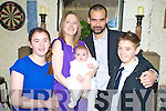 Baby David James Buckley, Cools, Headford, pictured with his parents Julianne and David and godparents Rebecca and Michael Buckley, pictured during his christening celebration in The Kerry Way, Glenflesk, on Saturday.