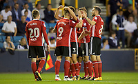 Martyn Waghorn of Ipswich Town (9) celebrates with his team mates after scoring his side's 3rd goal to make it 2-3 during the Sky Bet Championship match between Millwall and Ipswich Town at The Den, London, England on 15 August 2017. Photo by Alan  Stanford / PRiME Media Images.