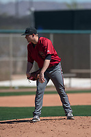 Arizona Diamondbacks relief pitcher Gabe Speier (15) looks to his catcher for the sign during a Minor League Spring Training intrasquad game at Salt River Fields at Talking Stick on March 12, 2018 in Scottsdale, Arizona. (Zachary Lucy/Four Seam Images)