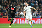 Real Madrid's Lucas Vazquez (r) and SSC Napoli's Kalidou Koulibaly during Champions League 2016/2017 Round of 16 1st leg match. February 15,2017. (ALTERPHOTOS/Acero)