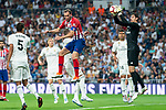 Real Madrid Thibaut Courtois and Atletico de Madrid Diego Godin during La Liga match between Real Madrid and Atletico de Madrid at Santiago Bernabeu Stadium in Madrid, Spain. September 29, 2018. (ALTERPHOTOS/Borja B.Hojas)