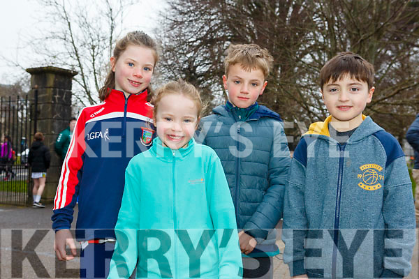 Waiting for the starters order at the Junior Parkrun in the Tralee Town park on Sunday morning last.<br /> L-r, Jessie, Cara and Tiarnan Lynch from Corca Dhuibhne and Matthew Rogers from Tralee.