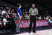 WINSTON-SALEM, NC - FEBRUARY 06: Head coach Muffet McGraw of the University of Notre Dame talks to official Kevin Dillard during a game between Notre Dame and Wake Forest at Lawrence Joel Veterans Memorial Coliseum on February 06, 2020 in Winston-Salem, North Carolina.