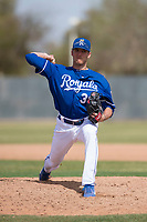 Kansas City Royals relief pitcher Andrew Beckwith (38) during a Minor League Spring Training game against the Milwaukee Brewers at Maryvale Baseball Park on March 25, 2018 in Phoenix, Arizona. (Zachary Lucy/Four Seam Images)