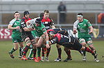 Connacht centre David McSharry beats Dragons prop Boris Stankovich for pace.<br /> Guiness Pro12<br /> Gwent Dragons v Connacht<br /> Rodney Parade<br /> 22.02.15<br /> ©Steve Pope -SPORTINGWALES
