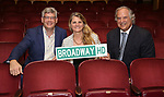 Stewart F. Lane, Bonnie Comley and Austin Shaw from  Broadway HD with Central Academy of Drama: Professors tour The Palace Theatre on September 25, 2017 at the The Palace Theatre in New York City.