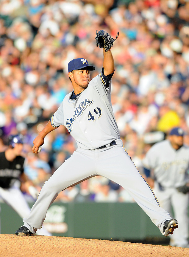 19 JUNE 2010: Milwaukee Brewers starting pitcher Yovani Gallardo during a regular season Major League Baseball game between the Colorado Rockies and the Milwaukee Brewers at Coors Field in Denver, Colorado.   The Rockies beat the Brewers 8-7. *****For Editorial Use Only*****