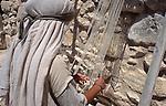Israel, Galilee, Weaving at Nazareth Village