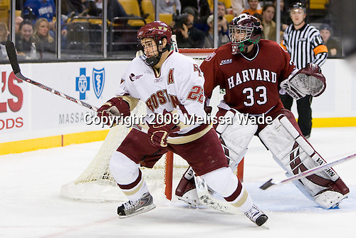 Dan Bertram (BC 22), Kyle Richter (Harvard 33) - The Boston College Eagles defeated the Harvard University Crimson 6-5 in overtime on Monday, February 11, 2008, to win the 2008 Beanpot at the TD Banknorth Garden in Boston, Massachusetts.