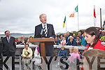 Mícheál Ó Muircheartaigh addresses a crowd of over a thousand people for the unveiling of Mick O'Dwyer's statue in Waterville on Saturday evening last.