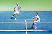 Switserland, Genève, September 19, 2015, Tennis,   Davis Cup, Switserland-Netherlands, Doubles: Dutch team Matwe Middelkoop/Thiemo de Bakker (L)<br /> Photo: Tennisimages/Henk Koster