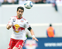Juan Pablo Angel #9 of the New York RedBulls collects a high ball during a MLS match against the Philadelphia Union on April 24 2010, at RedBull Arena, in Harrison, New Jersey.RedBulls won 2-1.