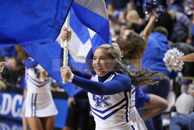 A cheerleader during the first half of UK Men's Basketball vs. Texas A&M at Rupp Arena in Lexington, Ky., on Tuesday, January 21, 2014. Photo by Emily Wuetcher | Staff