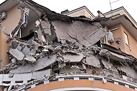Rome, Italy. 22th January 2016<br /> A picture shows an appartment building that collapsed. People were evacuated after a resident heard strange noises and raised the alarm before the building collapsed. There is no victims and an investigation is under way.