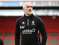Lincoln City's first team goalkeeping coach Andy Warrington during the pre-match warm-up<br /> <br /> Photographer Andrew Vaughan/CameraSport<br /> <br /> The EFL Sky Bet League Two - Stevenage v Lincoln City - Saturday 8th December 2018 - The Lamex Stadium - Stevenage<br /> <br /> World Copyright © 2018 CameraSport. All rights reserved. 43 Linden Ave. Countesthorpe. Leicester. England. LE8 5PG - Tel: +44 (0) 116 277 4147 - admin@camerasport.com - www.camerasport.com