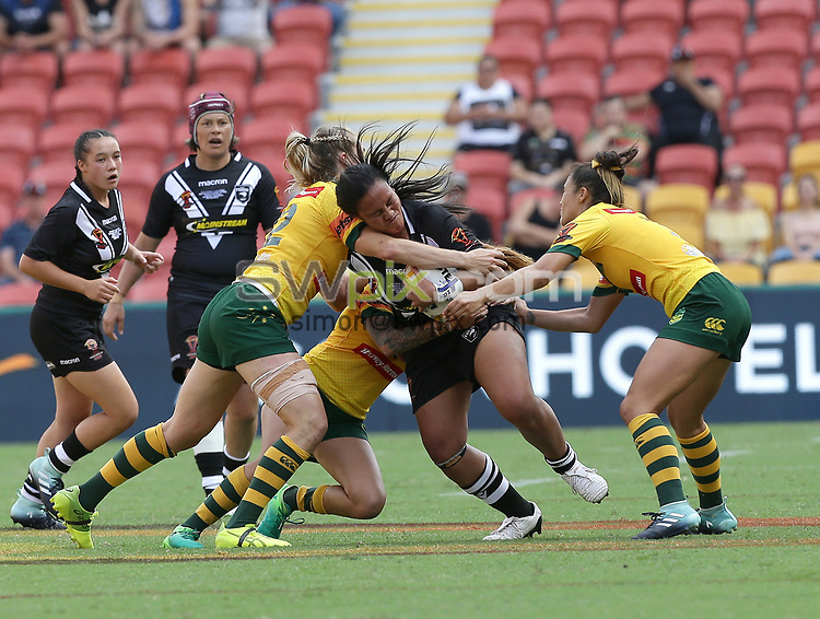 New Zealand's Lilieta Maumau is tackled during the women's Rugby League World Cup final between Australia and New Zealand, Suncorp Stadium, Brisbane, Australia, 2 December 2017. Copyright Image: Tertius Pickard / www.photosport.nz MANDATORY CREDIT/BYLINE : Tertius Pickard/SWpix.com/PhotosportNZ