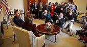 Washington, DC - January 5, 2008 -- United States President-elect Barack Obama (L) meets Speaker of the House Rep. Nancy Pelosi (D-CA) (2L) in her office at the U.S. Capitol, Monday, January 5, 2009 in Washington, DC. The Obama family moved to the capital over the weekend so the daughters could begin school in Washington today. Obama met with Pelosi and will meet with his top economic advisors to begin work on a stimulus package that they hope will include hundreds of billions of dollars worth of tax breaks for individuals and businesses.  .Credit: Chip Somodevilla - Pool via CNP