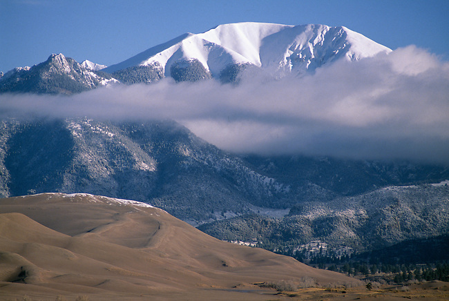 View of Sangre De Cristo Mtns from Great Sand Dunes Nat'l Park, CO