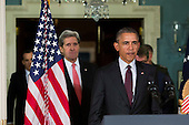 United States Secretary of State John Kerry, left, and US President Barack Obama, right, arrive to make a statement after meeting with his National Security Council at the State Department, February 25, 2016 in Washington, DC. The meeting focused on the situation with ISIS and Syria, along with other regional issues. <br /> Credit: Drew Angerer / Pool via CNP