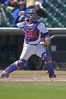 Taylor Davis (19) of the Iowa Cubs throws to second base against the New Orleans Zephyrs at Principal Park on April 23, 2015 in Des Moines, Iowa.  The Zephyrs won 9-2.  (Dennis Hubbard/Four Seam Images)