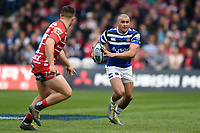 Jonathan Joseph of Bath Rugby in possession. Gallagher Premiership match, between Gloucester Rugby and Bath Rugby on April 13, 2019 at Kingsholm Stadium in Gloucester, England. Photo by: Patrick Khachfe / Onside Images