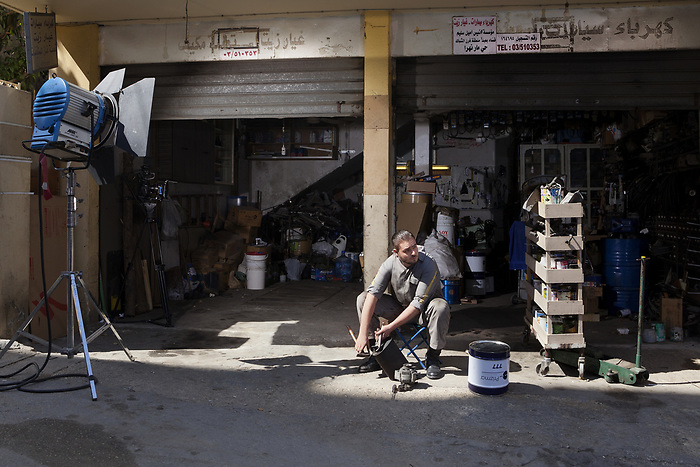 "Shooting of the series ""Mesh Ana"" (""Not for me""), Lebanon, Mars 2016 (M&M production). In this series, the young mechanic is in love with the heroine: but she is from the Lebanese bourgeoisie, and refuses his love because of his social rank.<br /> <br /> Tournage de la série ""Mesh Ana"" (""Sans moi""), Liban, Mars 2016 (M&M production). Dans la série, le jeune mécanicien est épris de l'héroïne. Celle-ci, issue de la bourgeoisie libanaise, refusera son amour en raison de son rang social."