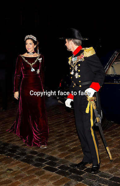 01-01-2014 Amalienborg Princess Mary and Prince Frederik at the New Years reception at Amalienborg in Copenhagen.<br /> Credit: Nieboer/PPE/face to face<br /> - No Rights for Netherlands -