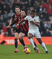 Wolverhampton Wanderers' Ivan Cavaleiro (right) under pressure from Bournemouth's Adam Smith (left) <br /> <br /> Photographer David Horton/CameraSport<br /> <br /> The Premier League - Bournemouth v Wolverhampton Wanderers - Saturday 23 February 2019 - Vitality Stadium - Bournemouth<br /> <br /> World Copyright © 2019 CameraSport. All rights reserved. 43 Linden Ave. Countesthorpe. Leicester. England. LE8 5PG - Tel: +44 (0) 116 277 4147 - admin@camerasport.com - www.camerasport.com