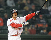 April 3, 2008: Outfielder Che-Hsuan Lin (24) of the Greenville Drive, Class A affiliate of the Boston Red Sox, during the season opener against the Kannapolis Intimidators at Fluor Field at the West End in Greenville, S.C. Photo by:  Tom Priddy/Four Seam Images