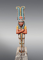 Ancient Egyptian statuette of Ptah Sokar Osiris, Late Period 25-26th Dynasty, (722-525 BC). Egyptian Museum, Turin. Grey background. Old Fund Cat 2466.