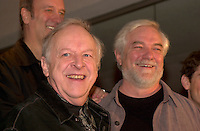 April 22, 2003, Montreal, Quebec, Canada<br /> <br /> Marcel Sabourin (Left) and Michel Dumont (right)<br /> at the launch of the spring 2003 season of the Jean Duceppe theater troup, April 22, 2003, in Montreal, Canada.<br /> <br /> NO MODEL RELEASE - Editorial related to this event only<br /> <br /> Mandatory Credit: Photo by Pierre Roussel- Images Distribution. (©) Copyright 2003 by Pierre Roussel <br /> <br /> NOTE : <br />  Nikon D-1 jpeg opened with Qimage icc profile, saved in Adobe 1998 RGB<br /> .Uncompressed  Original  size  file availble on request.